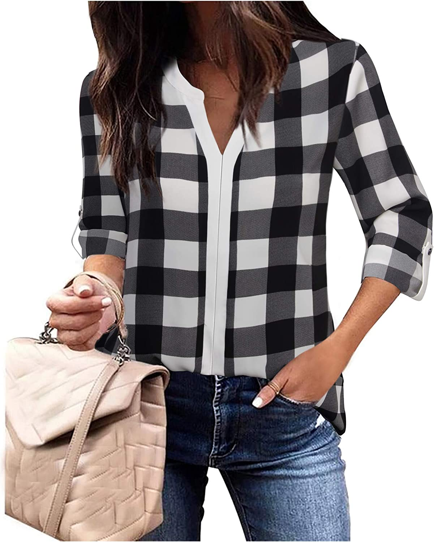 Gaharu Women's Casaul 3/4 Sleeve Shirts Tops V Neck Chiffon Blouses