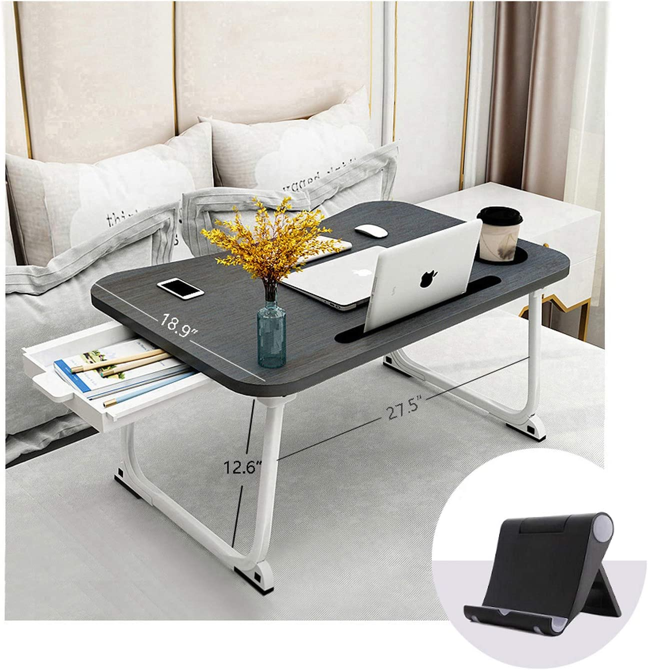 XXL Foldable Lap Tray Laptop with Cup Holder Portable Laptop Stand with Storage Drawer and Phone Stand 70x48x32cm Ergonomic Standing Laptop Tray in Bed//Couch//Sofa//Office Laptop Table for Bed