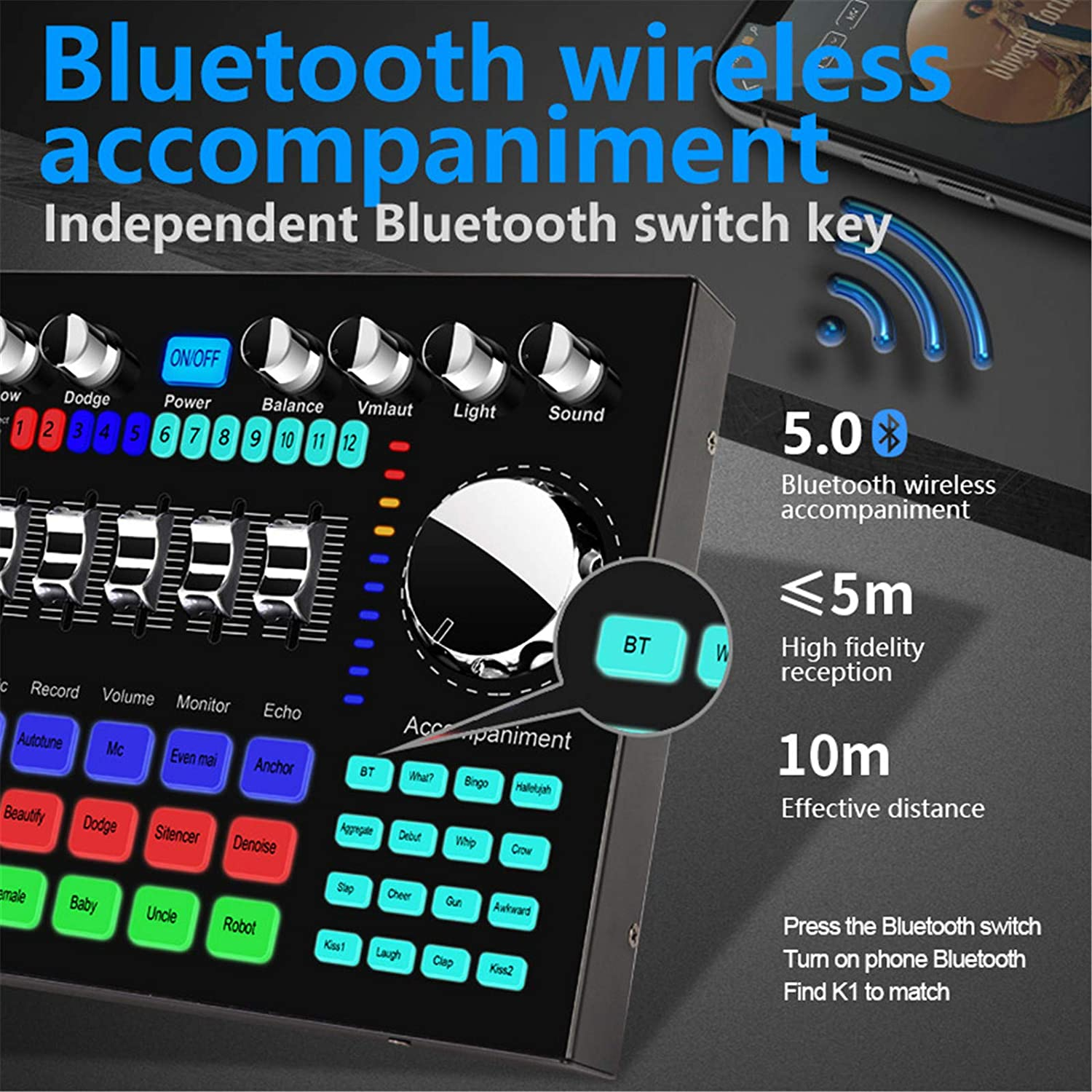 Portable Blueteeth Voice Converter Sound Card with Multiple Sound Effects Sound Card Karaoke Sound Mixer Board for Music Recording