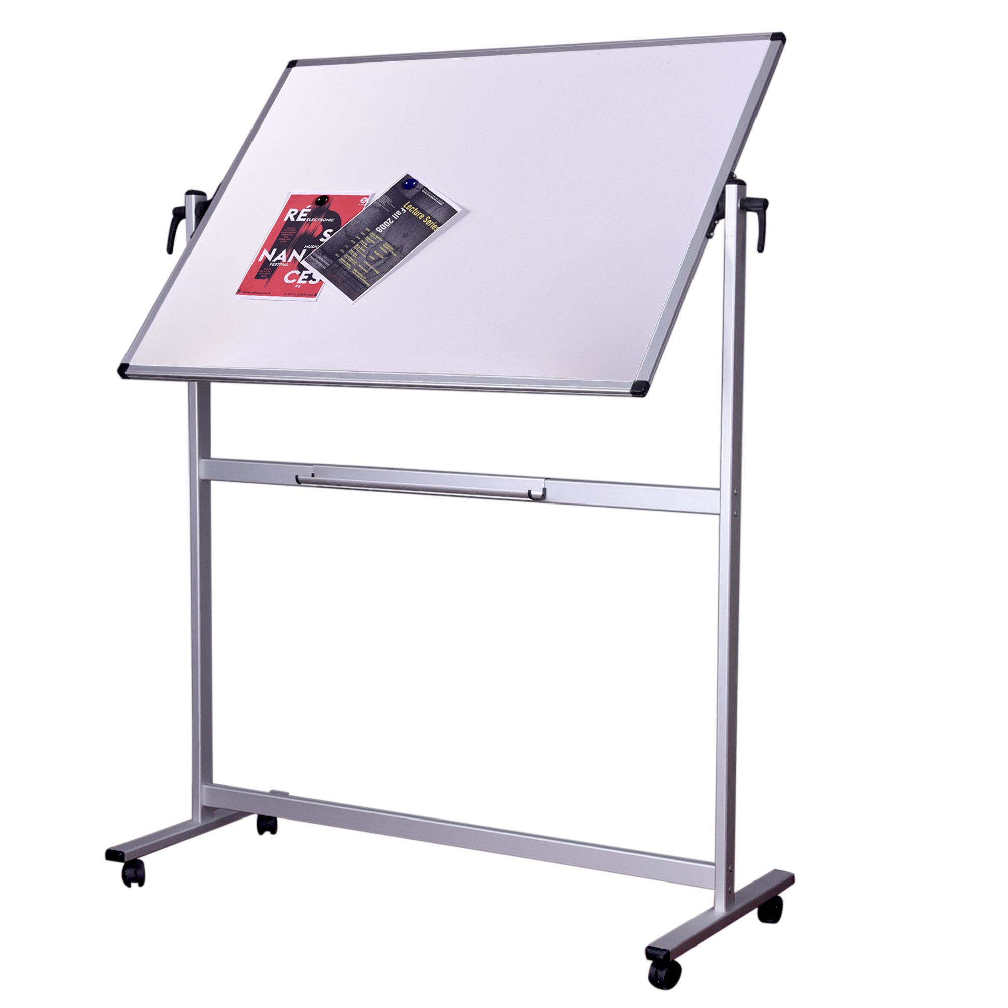 Dexboard 48 x 36 inch Double Sided Revolver Rolling Magnetic Dry Erase Board Easel, Mobile & Reversible Presentation White Writing Board on Aluminum Stand Wheels
