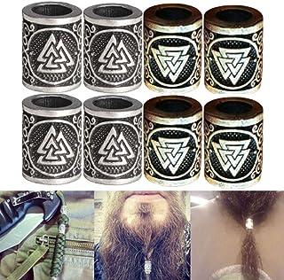 LIKEDA Metal Norse Viking Runes Charms Bead Argento Dreadlock Barba Capelli Anello per I Risultati Fai da Te Bracciale Ciondolo Gioielli Collana,8