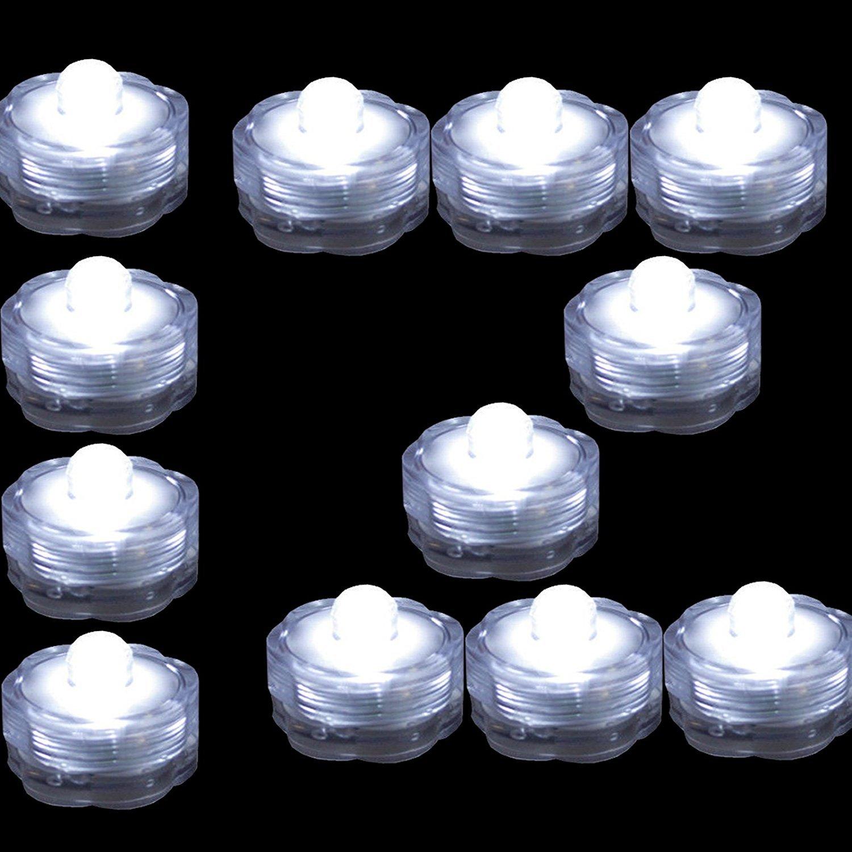 TDLTEK防水水中LEDライトティーライト、ウェディング、パーティー、装飾(12ピースピンク) 12 Pack TDLSBLIGHT180502 B07CYKZT81  クリアホワイト 12 Pack