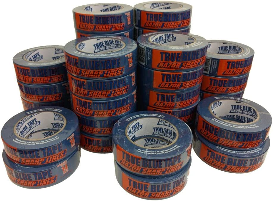 True Blue Premium Blue Professional Painter's Masking Tape – Indoor and Outdoor Use – Commercial Grade - Available in 2 Widths – Works on a Variety of Surfaces (1.5 Inch, 36-Pack)