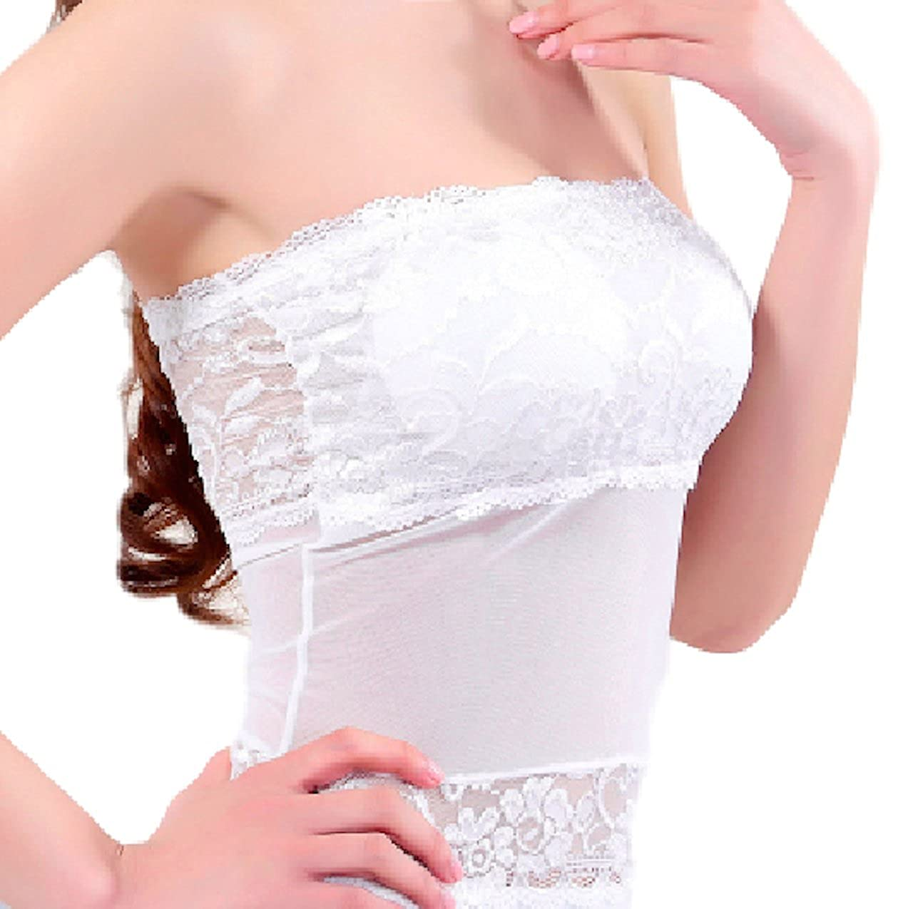 ts-store Stretch Tube Top Camisole Lace Bandeau 12 inches Long in The Dress Party