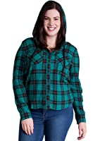 Woman Plus Size Plaid Long Sleeve Button Front Flannel Hoodie
