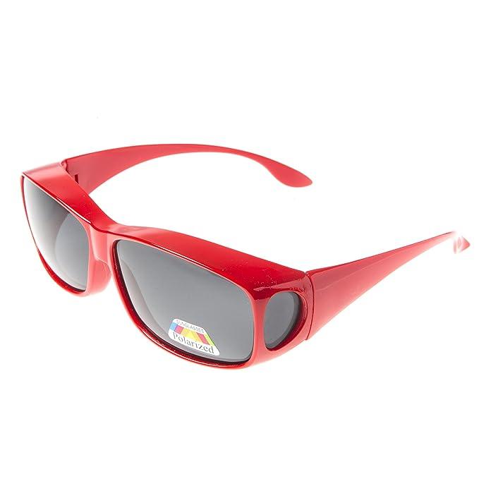 ASVP Shop - Gafas de sol polarizadas, sobre gafas graduadas para conducir rojo rosso M