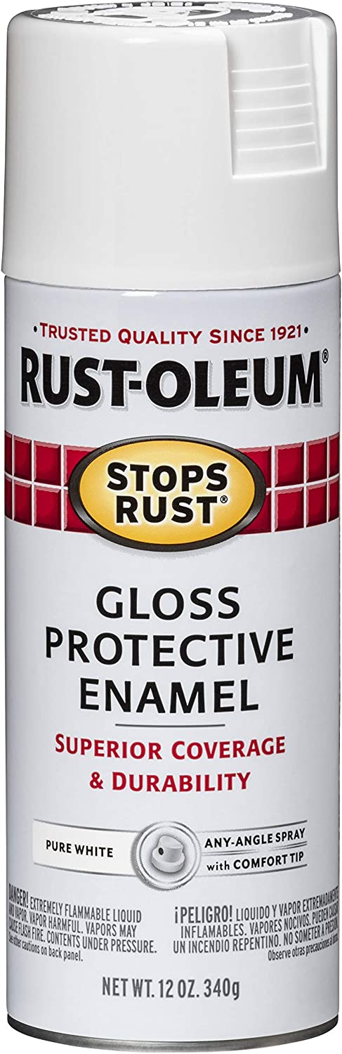 Rust-Oleum 250702 Stops Rust Spray Paint, 12-Ounce, Gloss Pure White
