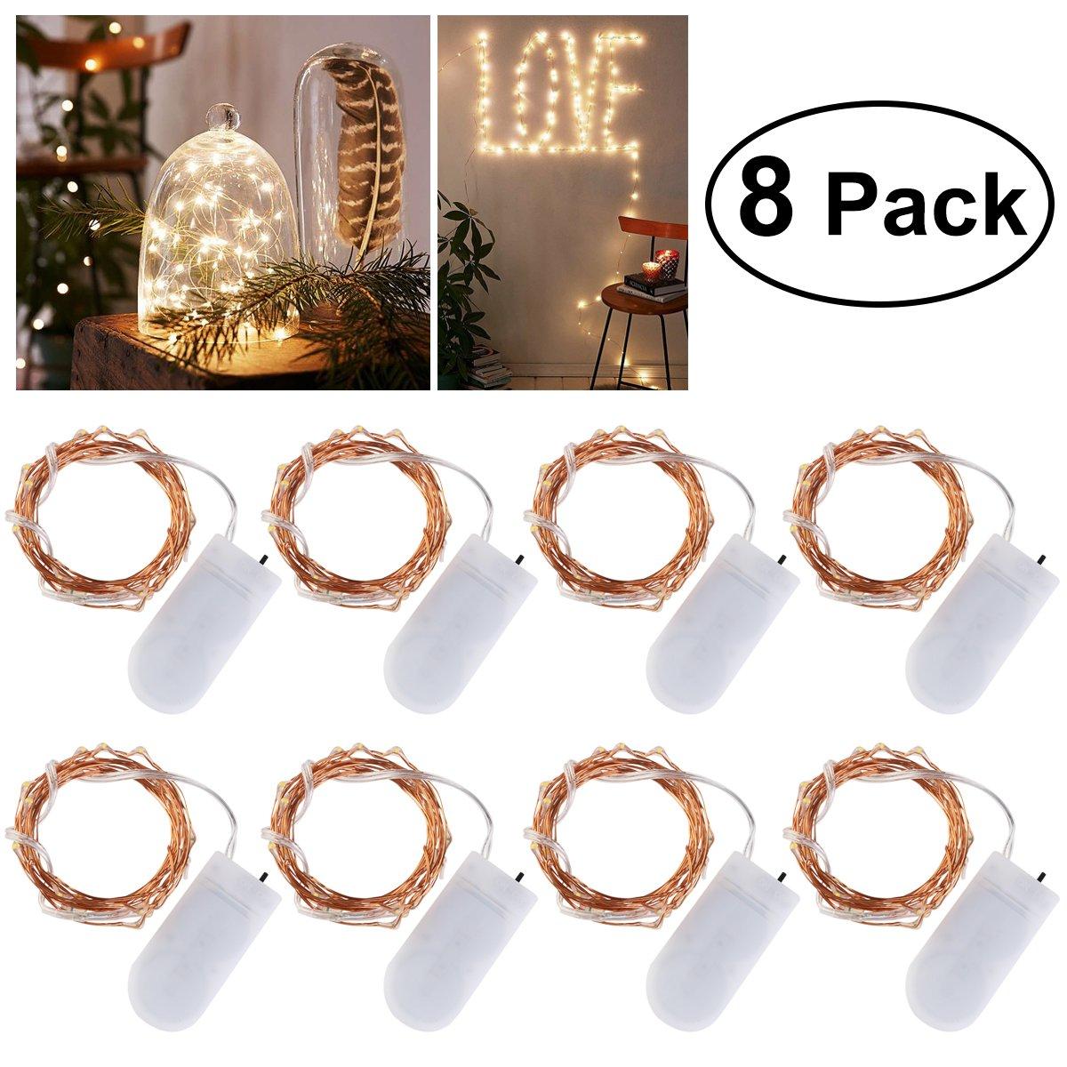Ledmomo Lot de 8guirlandes lumineuses de 20micro-LED blanc chaud 2m Piles fournies