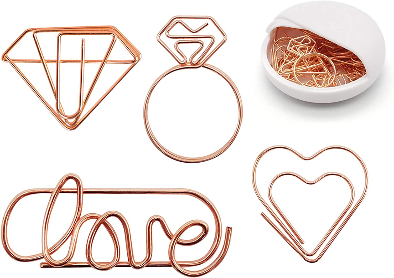 Cute Paper Clips - 20Pcs: 5 love + 5 heart + 5 Diamond + 5 Diamond Ring, Funny Bookmark Marking Clip for Office School Wedding Party Invitation Valentine Decoration - Assorted Small Planner PaperClips