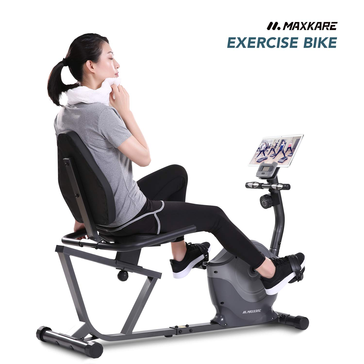 MaxKare Recumbent Exercise Bike Indoor Cycling Stationary Bike with Heart Rate Sensor and Phone Holder Burns Fat Calories