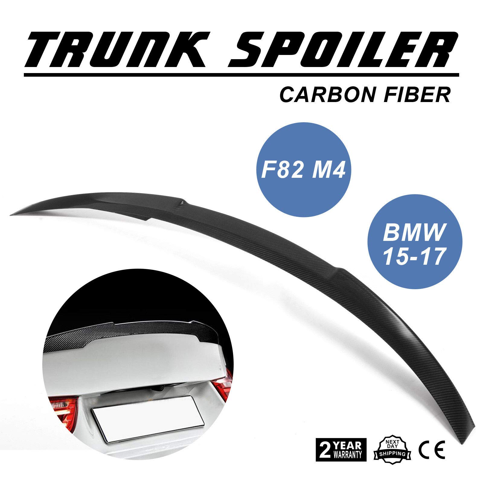 Mophorn Carbon Fiber Rear Trunk Lip Spoiler Wing For BMW 3-Series F30 4DR Performance Style Carbon Fiber Trunk Spoiler Rear Spoiler Wing 320i 328i 335i 340i