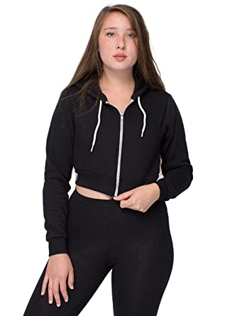 f9c3b9eec2 American Apparel Women's Cropped Flex Fleece Zip Hoodie Size XS Black