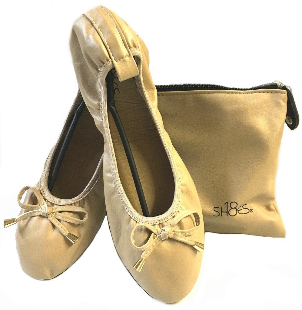 Shoes 18 Women's Foldable Portable Travel Ballet Flat Shoes w/Matching Carrying Case 1180 Nude 9/10