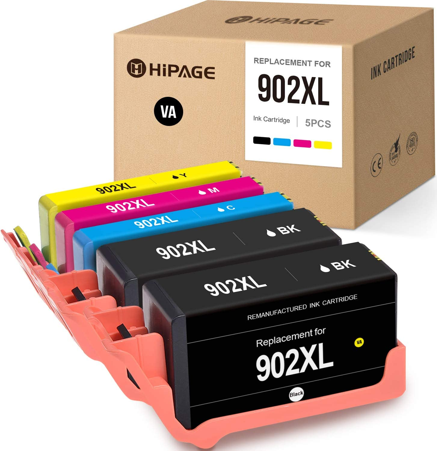 HIPAGE Remanufactured Ink Cartridge Replacement for HP 902XL 902 XL Ink Cartridges Combo Pack (2 Black,1Cyan Magenta Yellow, 5-Pack)