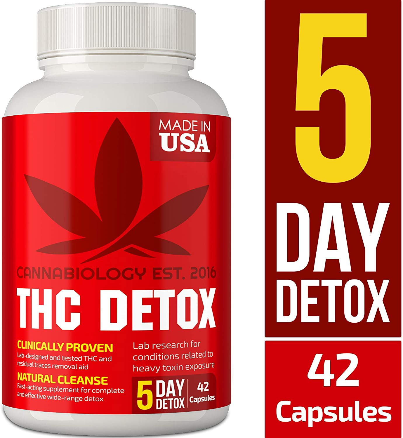 Detox Made in USA – 5 Day Detox – Bio-Cleanse Liver Detox, Urinary Tract Kidney Cleanse Broad-Spectrum Toxin Cleanse – Natural THC Remover Detox – Milk Thistle, Cranberry – 42 Vegan Capsules