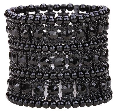 Loveangel Jewellery Women's Multilayer Crystal Stretch Bracelet 3 Row SFikK8r