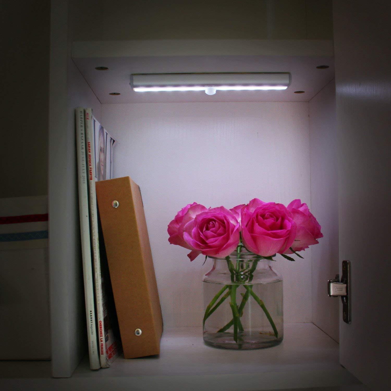 10 LED 3pcs Armoire de capteur rechargeable par USB,Veilleuse de placard avec Marche//Arr/êt automatique pour le cabinet,Escalier,Miroir de courtoisie OxyLED Barre de lumi/ère de capteur de mouvement,