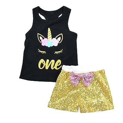 2pcs/Set Baby Unisex Unicorn Vest Sleeveless Tank Tops & Sequin Shorts Outfits