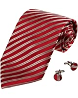 YAB1A06 Multi-Colored Stripes Accessories Gift Mens Silk Tie Set 2PT By Y&G