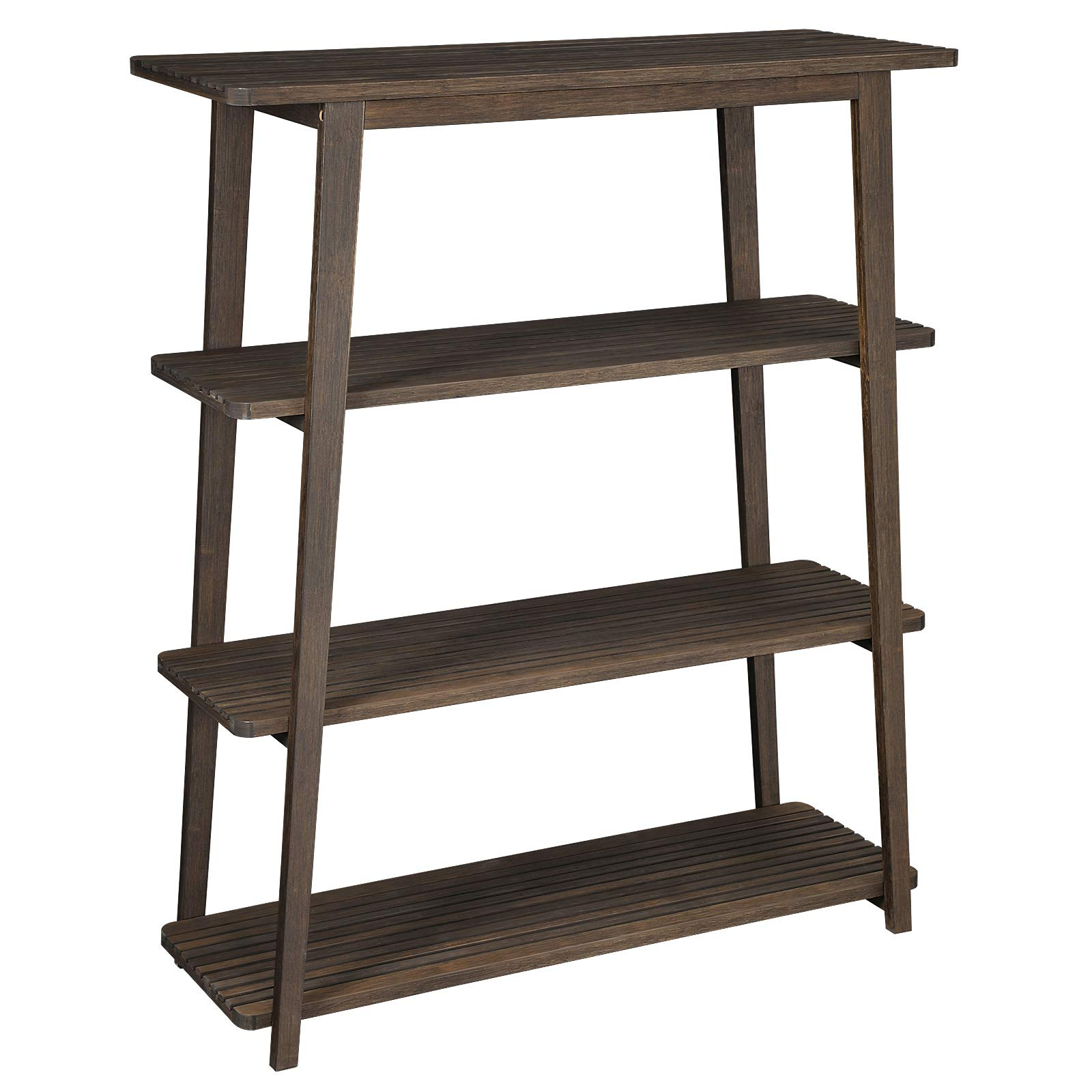 VASAGLE Bamboo Storage Rack, 4-Tier Bookcase with Cutout Design, Stable Plant Stand, Shelving Unit for Living Room Study Balcony, Tower Design, 39.4 x 14.4 x 47.2 Inches, Walnut Color ULUS100WN by VASAGLE