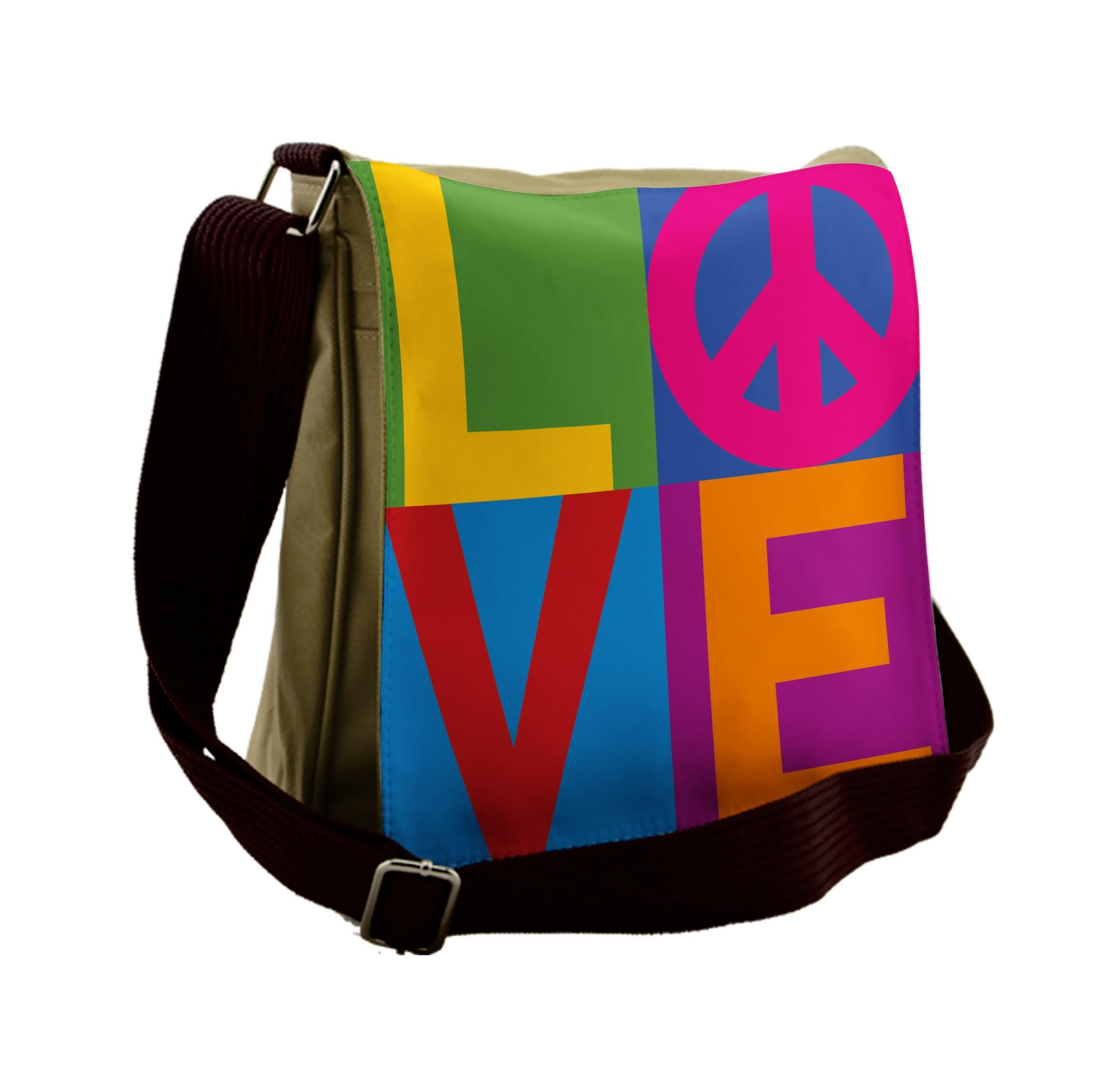 Lunarable Groovy Messenger Bag, Typography of Love Peace, Unisex Cross-body