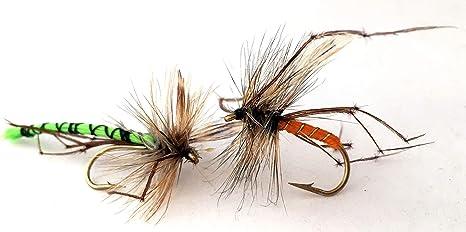 6 pack Orange détachés du corps taille 10 Fishing Flies PAPA LONGUES JAMBES Truites Mouches