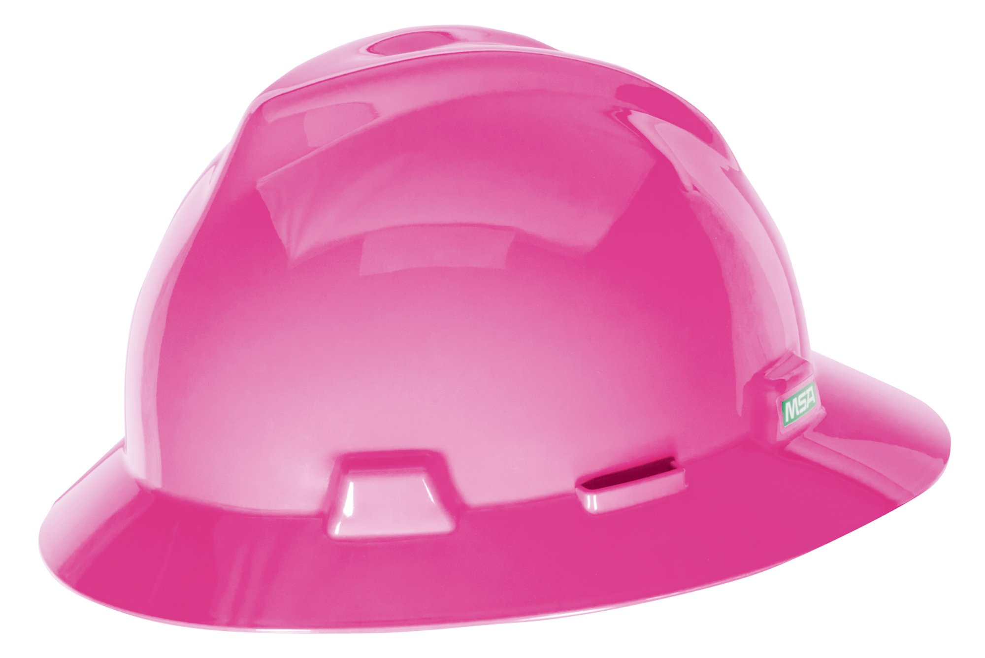 MSA 10156373 V-Gard Slotted Full-Brim Hat, Hot Pink, w/Fas-Trac III Suspension by MSA (Image #1)