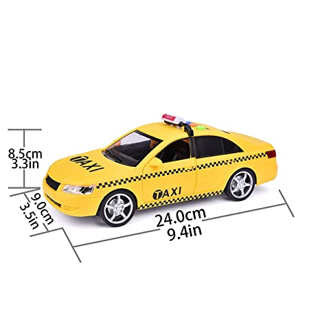 Liberty Imports Friction Powered Yellow Taxi Cab 1:16 Toy Car Vehicle with  Lights and Sounds (10-Inch)