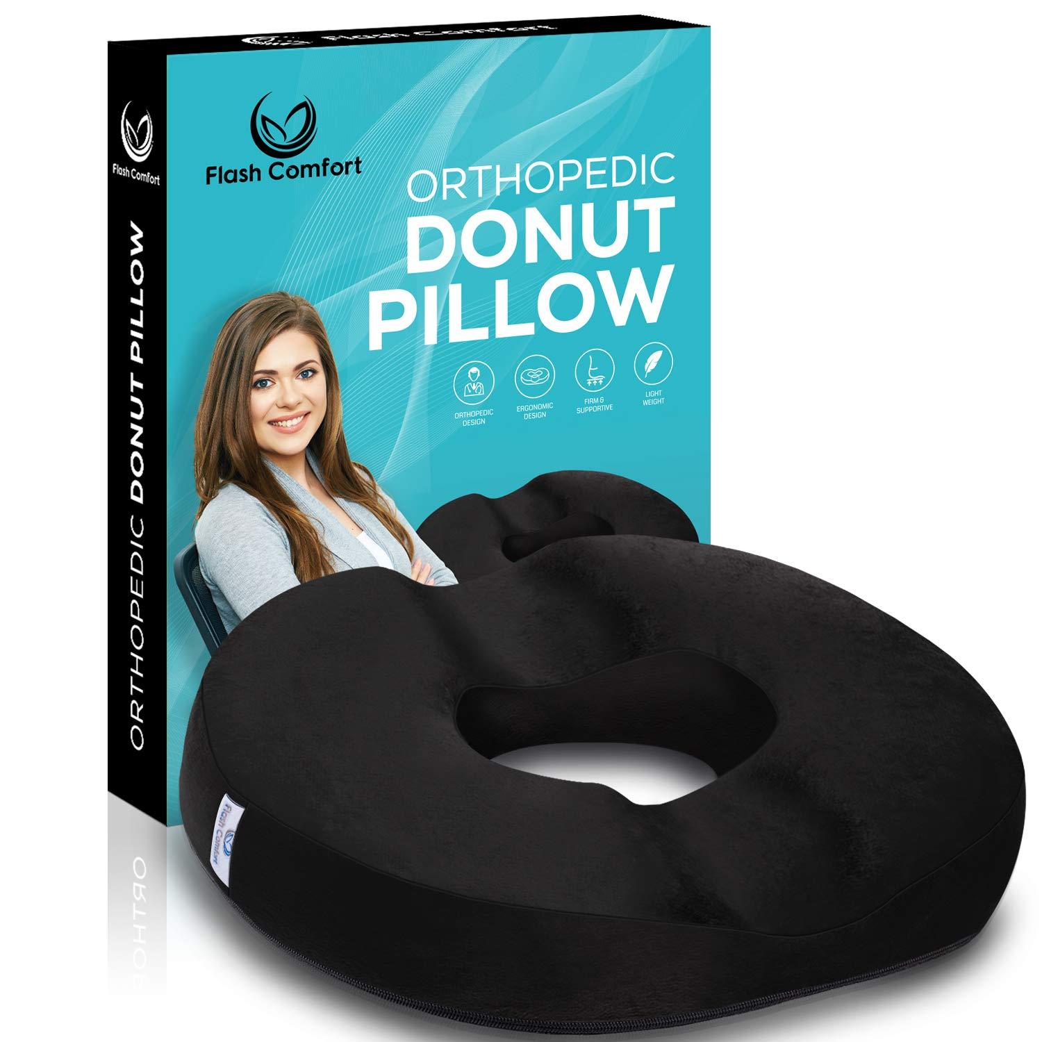 Luxury Donut Tailbone and Coccyx Pillow | Medical Firm Sitting Seat Cushion | Relief from Hemorrhoids, Prostate, Back Pain, Post Natal Orthopedic Surgery, Pregnancy and More | 100% Luxury Memory Foam by Flash Comfort