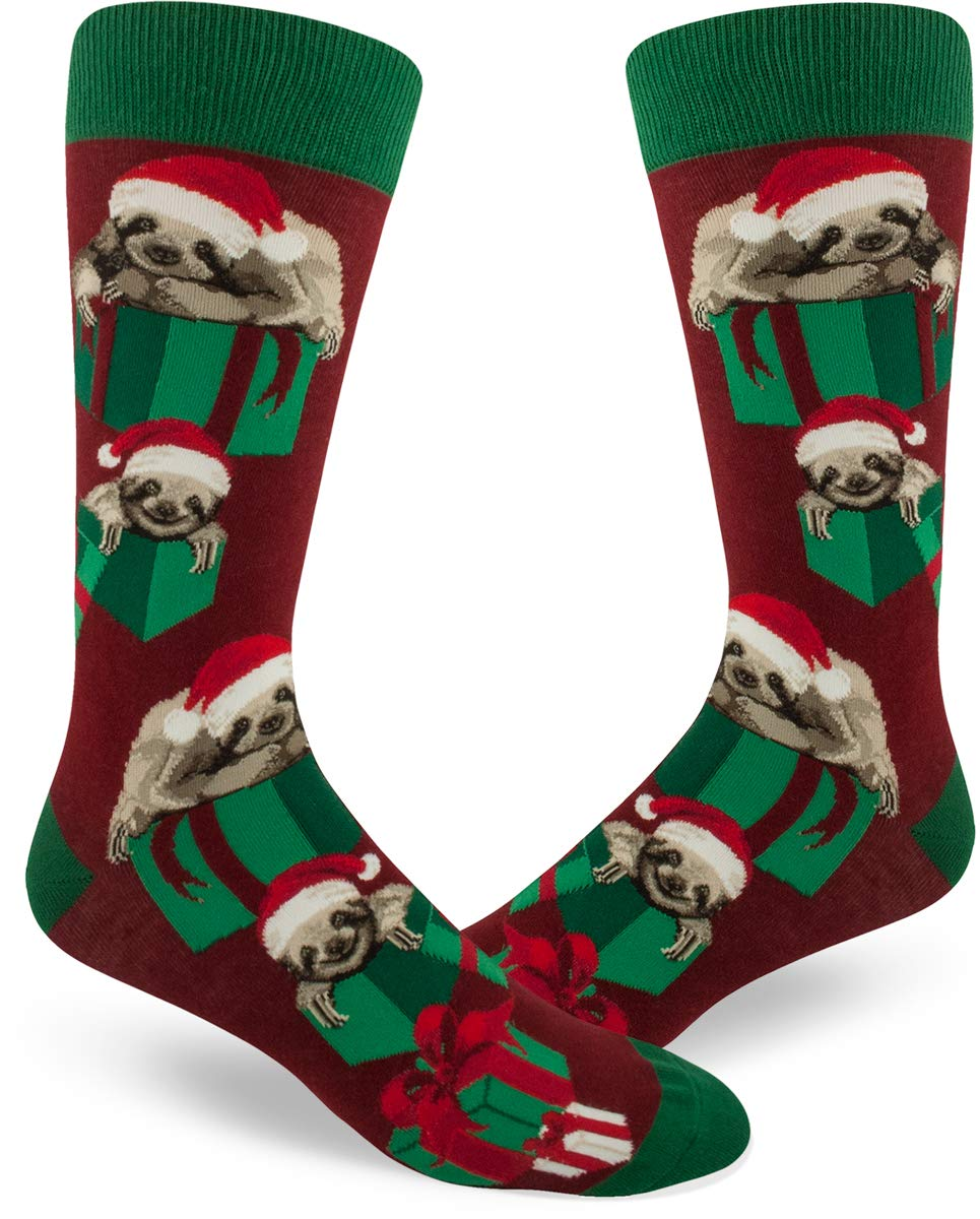 Modsocks Men'S Santa Sloth Crew Socks In Crimson Red (Fits Most Men Shoe Size 8-13) -