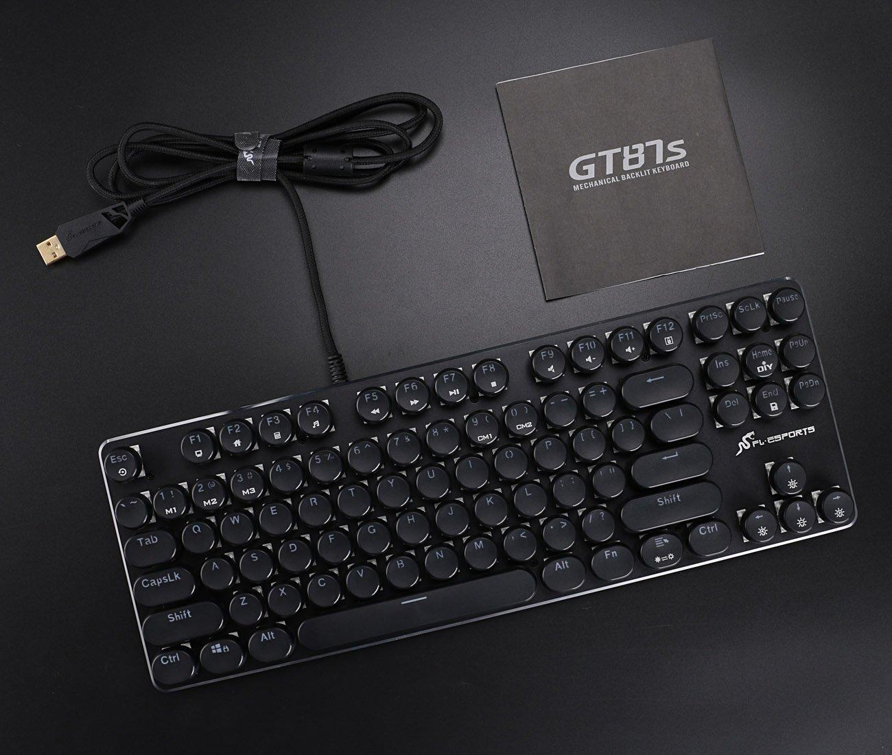 Amazon.com: Keyboard Retro Keyboard 87 Keys Keyboard with White LED Backlit Keyboard Typewriter Retro Style Keyboard Metal Base and Round Keycaps Anti ...