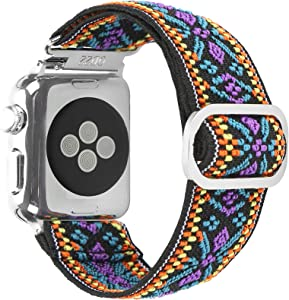 SUPSUN Compatible with Apple Watch Band, 38mm 40mm 42mm 44mm Adjustable Buckle Elastic Watch Band Breathable Soft Nylon Wristband Strap Replacement Compatible for Apple Watch Series 1/2/3/4/5/6/SE