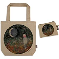 The Linen Press Designer Canvas Shopping Tote Bag and Matching Purse Set – theme: Galah At Twilight on a Beige…