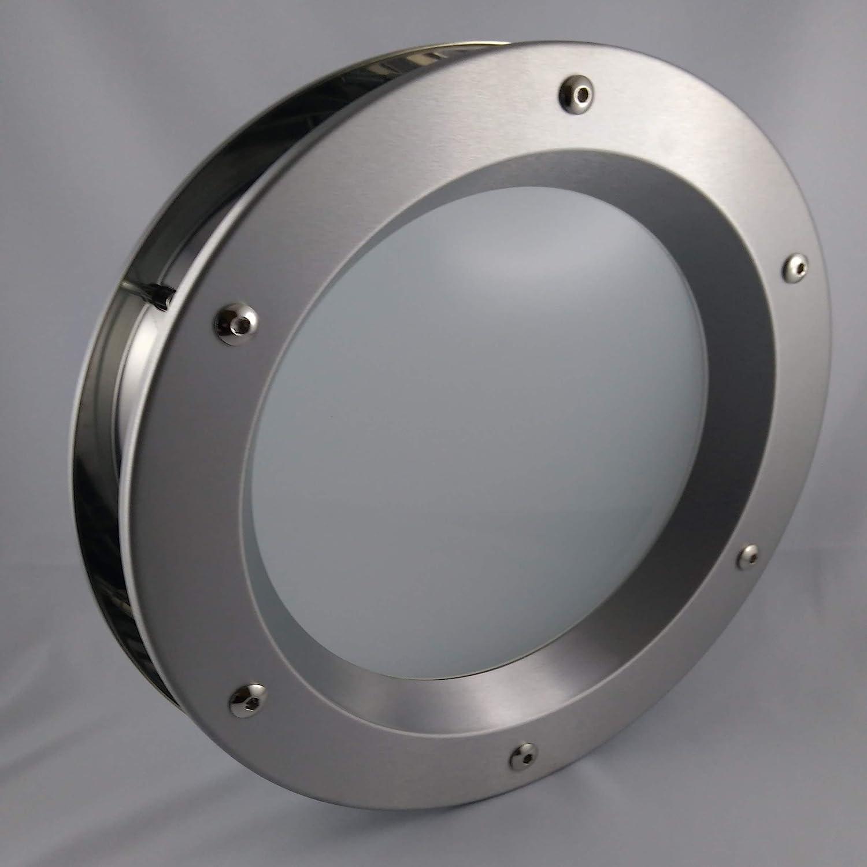 Ojo de buey para puerta de acero inoxidable INOX, diámetro de 350 mm, vidrio transparente de seguridad, tuercas de collar