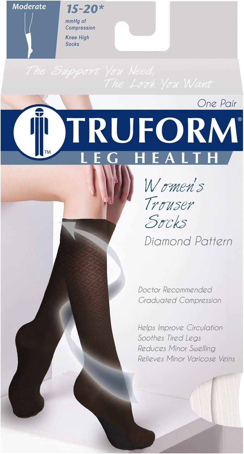 Small Knee High Over Calf Length White Diamond Knit Womens Dress Socks Truform Compression Socks 15-20 mmHg
