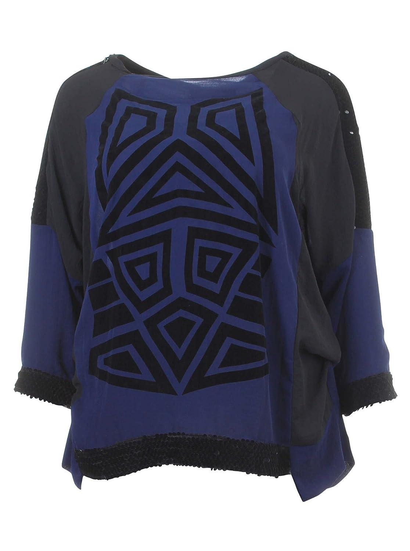 Langarmshirt mit Ethnomuster in blau/schwarz/grau in Übergrößen (--) von mat