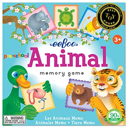 amazon com eeboo preschool animal memory matching game toys games
