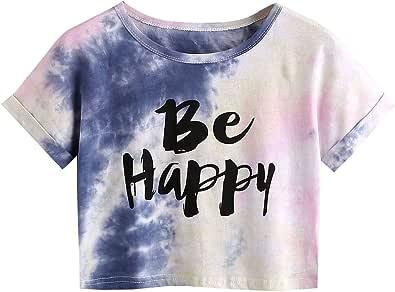 SweatyRocks Women's Tie Dye Letter Print Crop Top T Shirt