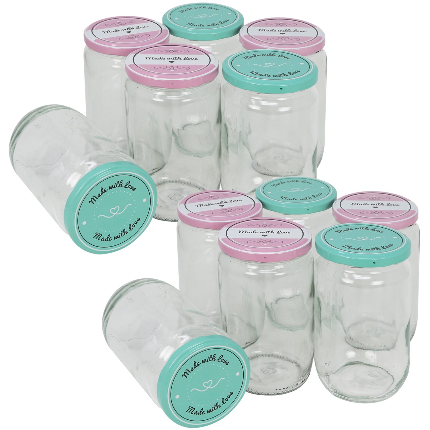 COM-FOUR 6X Bulbous Preserving Jars with Screw topMade with Love in Green and Pink, to Ø 82 mm, 260 ml (06 Pieces - 260 ml Bulbous)