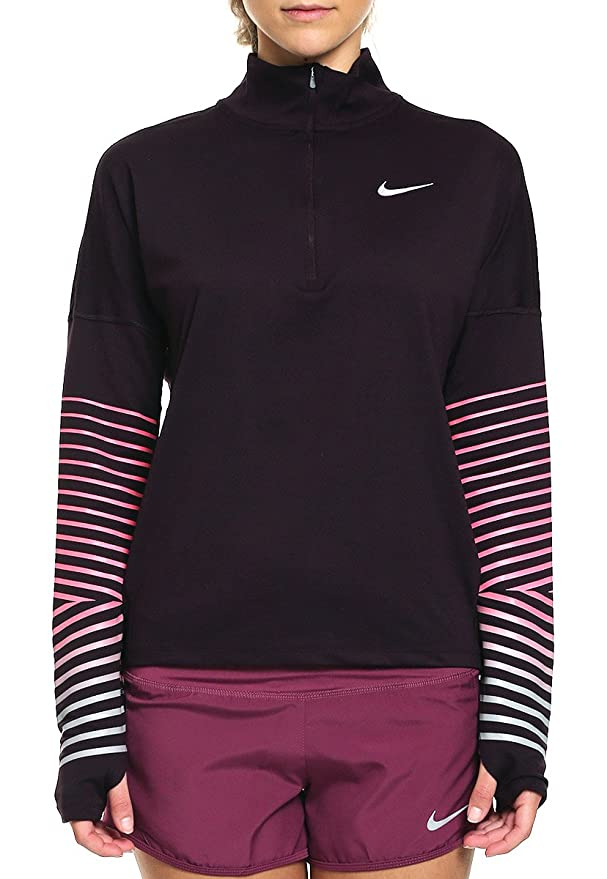 Nike W Nk Dry FLSH Elmnt Top Hz, Maglie A Manica Lunga