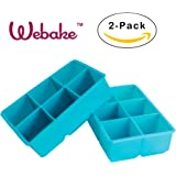 Webake 2-pack Silicone Ice Cube Molds, Ice Cube Tray, Large 2 inch Cubes (Blue)