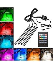 Car Interior Lights, Yolispa Car LED Strip Lights 48 LEDs Multicolor with USB Charger, 12V Led RGB Strip Lighting Kit Footwell Lights Car Ambient Lighting with Remote Control
