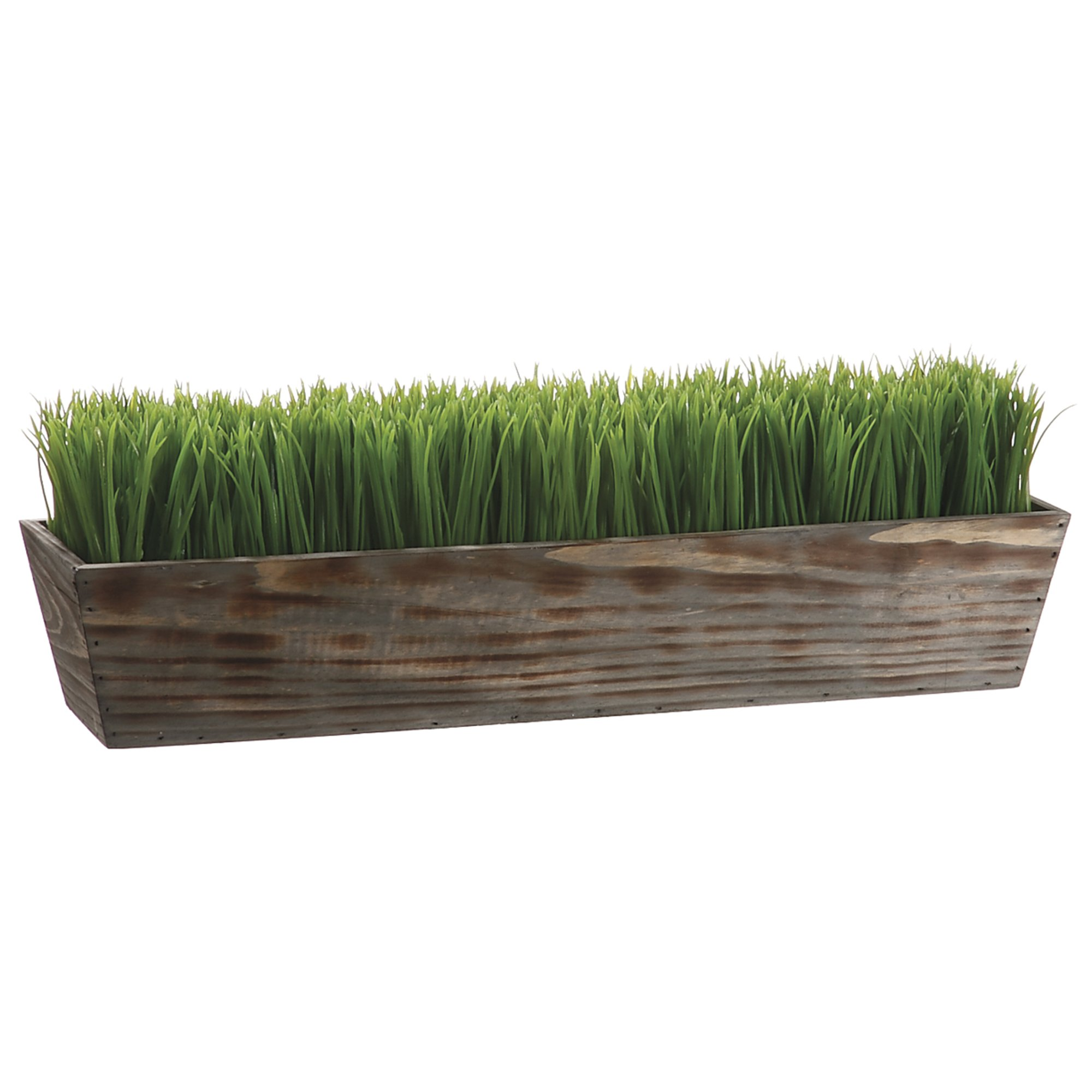 House of Silk Flowers Artificial Wheatgrass in Natural Wood Trough Planter