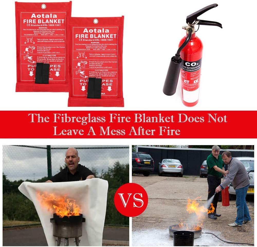 Aotala Fire Blanket Emergency Surival Fire Blankets Fiberglass Flame Retardant Protection and Heat Insulation for Kitchen,Fireplace,Grill,Car,Camping 6 pack