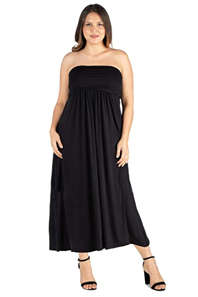 24seven Comfort Apparel Plus Size Strapless Maxi Dress - Made in USA -  (Sizes 1X -3X)