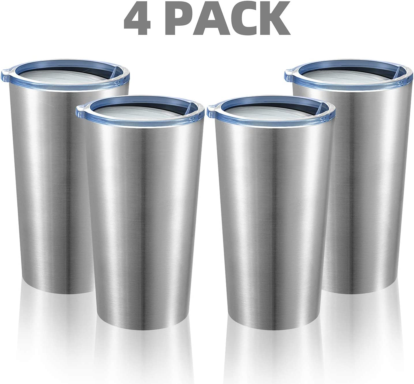 MEWAY 16oz Tumbler 4 Pack Stainless Steel Travel Coffee Mug with Lids Double Wall Insulated Coffee Cup for Home, Office, Travel Great (Silver, 4 pack)