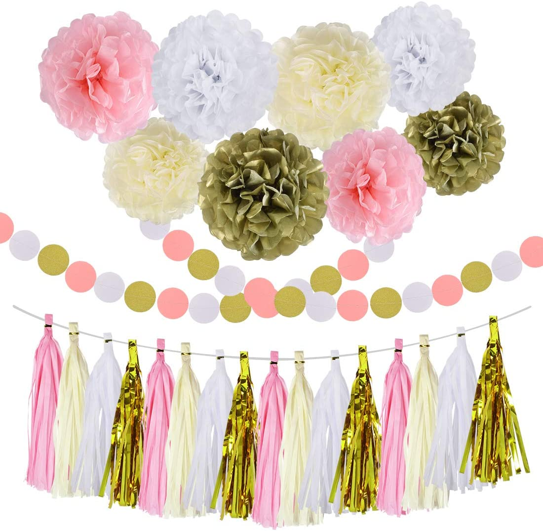 Pink Gold Party Decorations Baby Shower Birthday Tassel Garland Banner Tissue Paper Pom Pom Flowers for Wedding Bridal Graduation Decorations Party Supplies, 30PCS