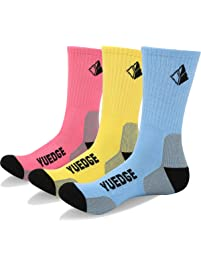 YUEDGE Womens Performance Wicking Cushioned Crew Athletic Socks for Sports Outdoor Walking Hiking