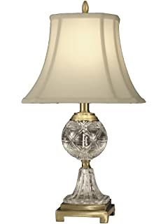 Dale Tiffany Crystal Table Lamp: Dale Tiffany GT10370 Crystal Table Lamp, Antique Brass and Fabric Shade,Lighting
