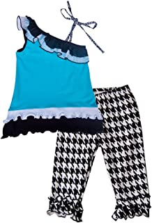 product image for Cheeky Banana Big Girls Encore Tunic top & Capris Leggings Turquoise,B&W